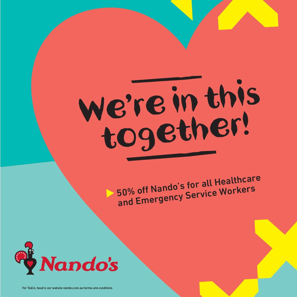 HALF PRICE for Healthcare & Emergency Service Workers at Nando's!