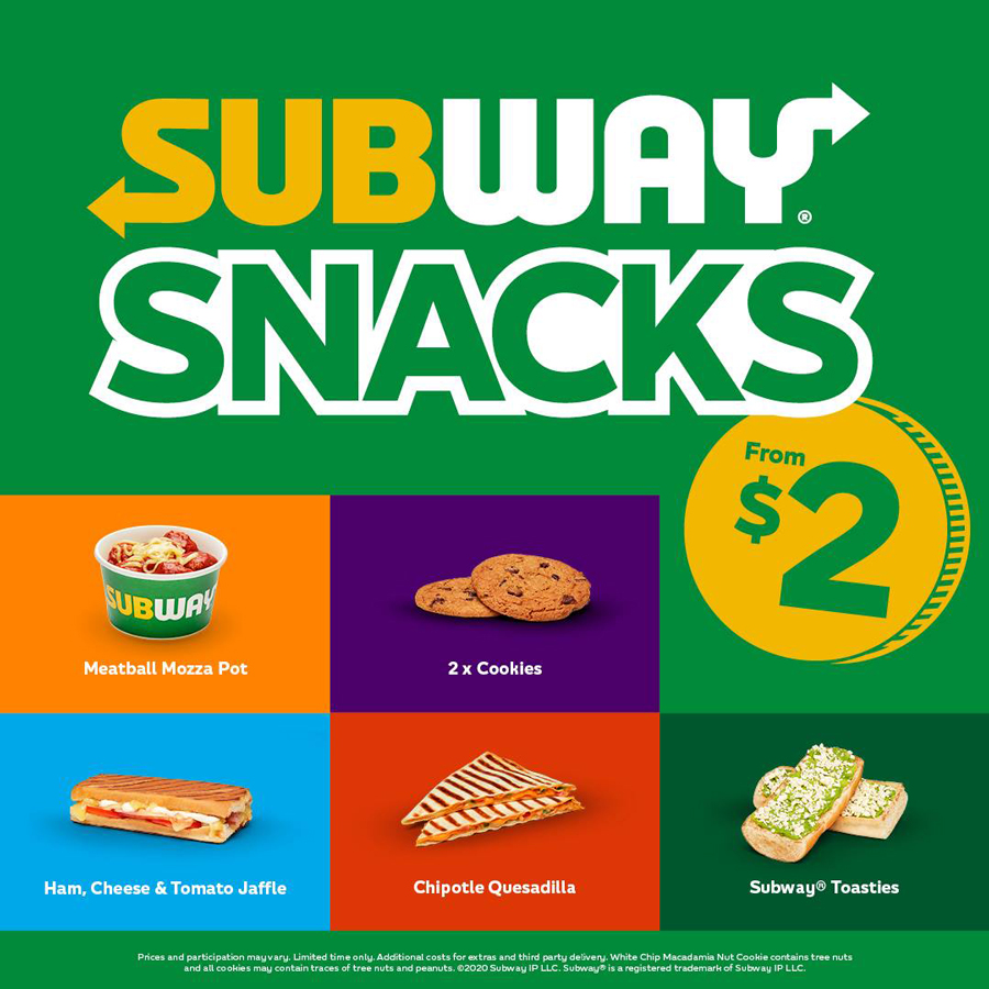 Subway Takeaway Snacks FROM ONLY $2